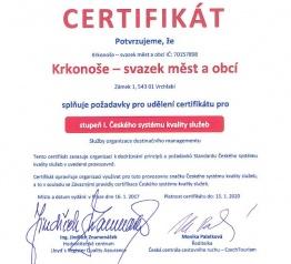 Svazek Krkonoše získal certifikát za kvalitu služeb